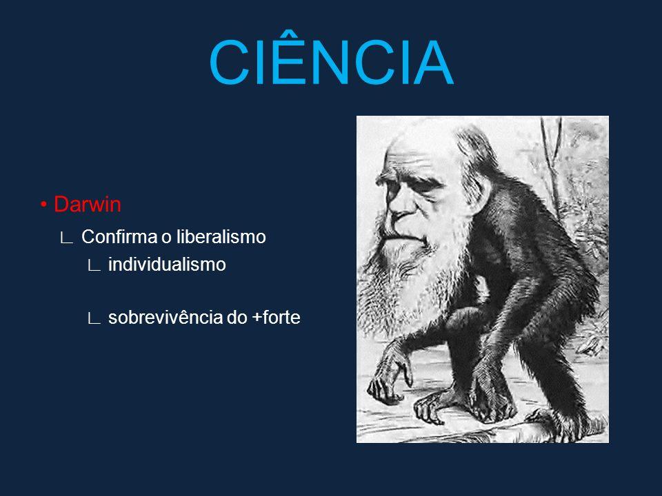 CIÊNCIA • Darwin ∟ Confirma o liberalismo ∟ individualismo