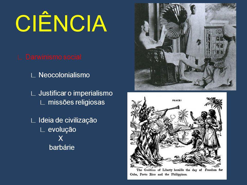 CIÊNCIA ∟ Darwinismo social ∟ Neocolonialismo ∟ Justificar o imperialismo ∟ missões religiosas ∟ Ideia de civilização ∟ evolução X barbárie