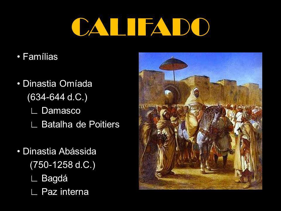 CALIFADO • Famílias • Dinastia Omíada (634-644 d.C.) ∟ Damasco ∟ Batalha de Poitiers • Dinastia Abássida (750-1258 d.C.) ∟ Bagdá ∟ Paz interna