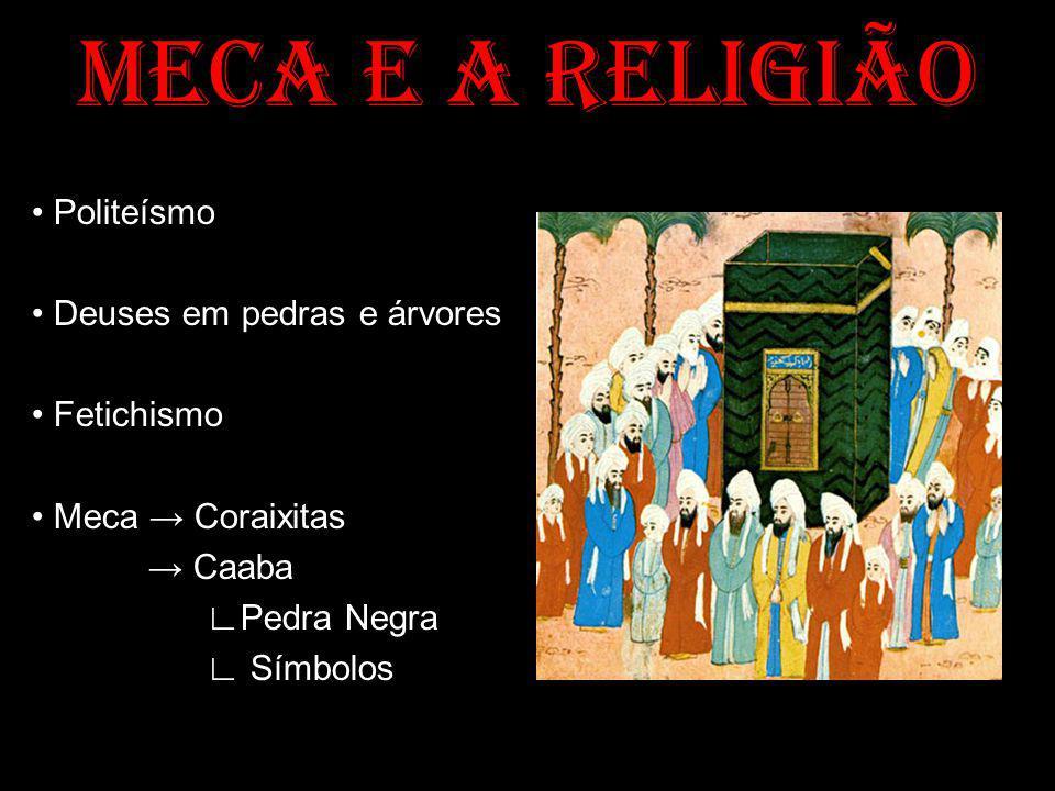 MECA E A RELIGIÃO • Politeísmo • Deuses em pedras e árvores • Fetichismo • Meca → Coraixitas → Caaba ∟Pedra Negra ∟ Símbolos