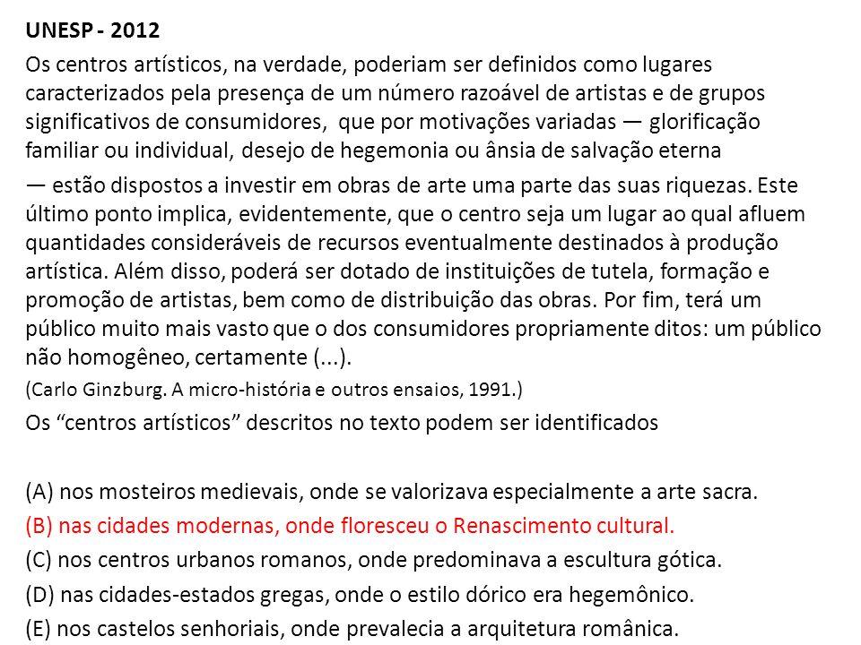 Os centros artísticos descritos no texto podem ser identificados