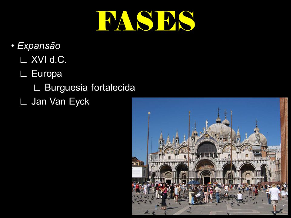 FASES • Expansão ∟ XVI d.C. ∟ Europa ∟ Burguesia fortalecida ∟ Jan Van Eyck