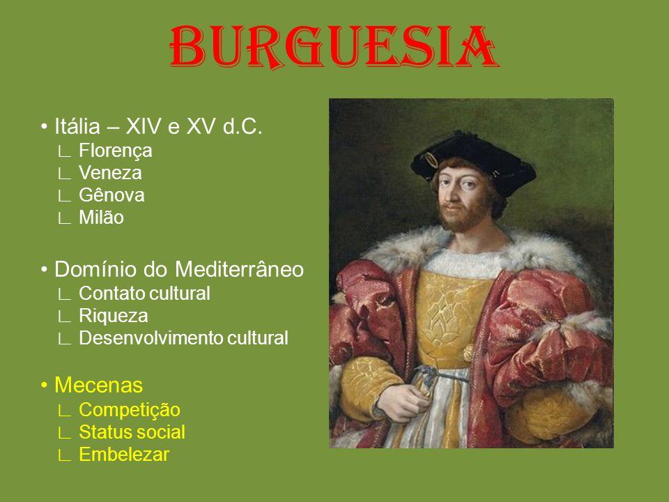 BURGUESIA • Itália – XIV e XV d.C. • Domínio do Mediterrâneo • Mecenas