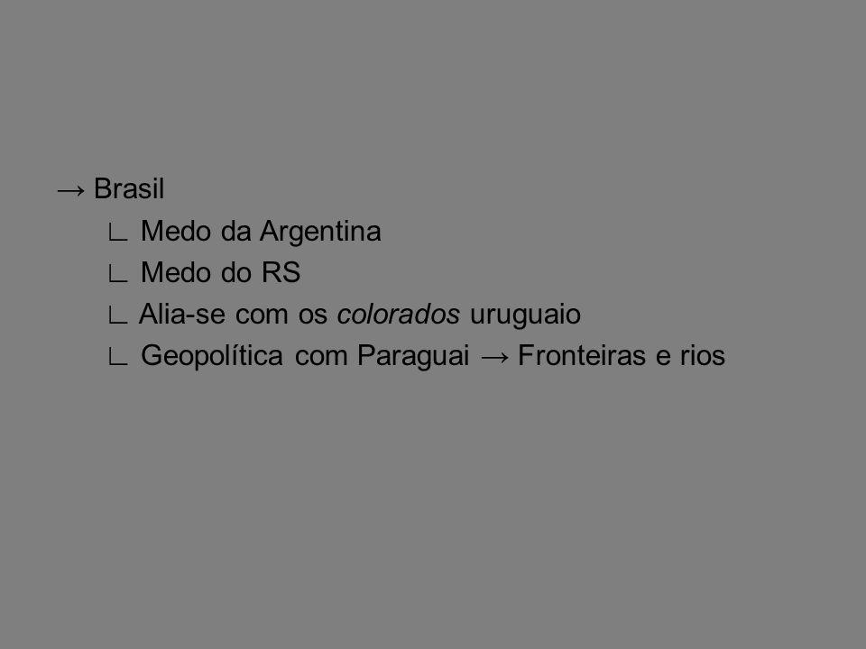 → Brasil ∟ Medo da Argentina ∟ Medo do RS ∟ Alia-se com os colorados uruguaio ∟ Geopolítica com Paraguai → Fronteiras e rios