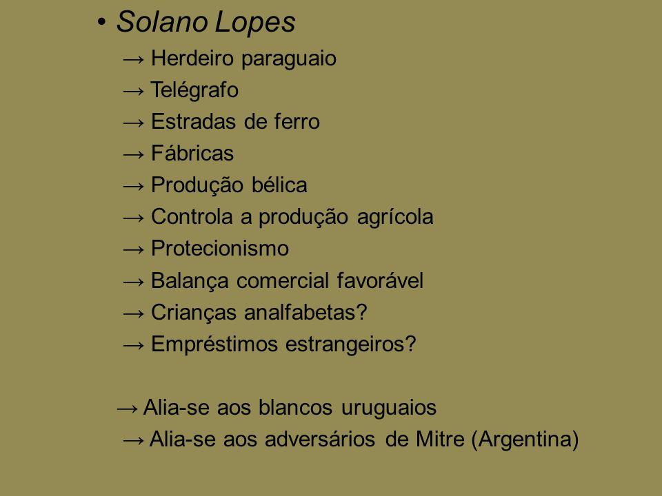 • Solano Lopes → Herdeiro paraguaio → Telégrafo → Estradas de ferro