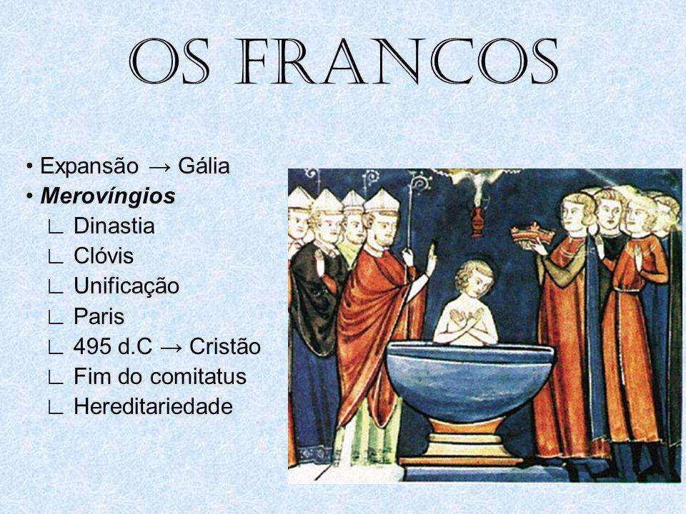 OS FRANCOS • Expansão → Gália • Merovíngios ∟ Dinastia ∟ Clóvis ∟ Unificação ∟ Paris ∟ 495 d.C → Cristão ∟ Fim do comitatus ∟ Hereditariedade