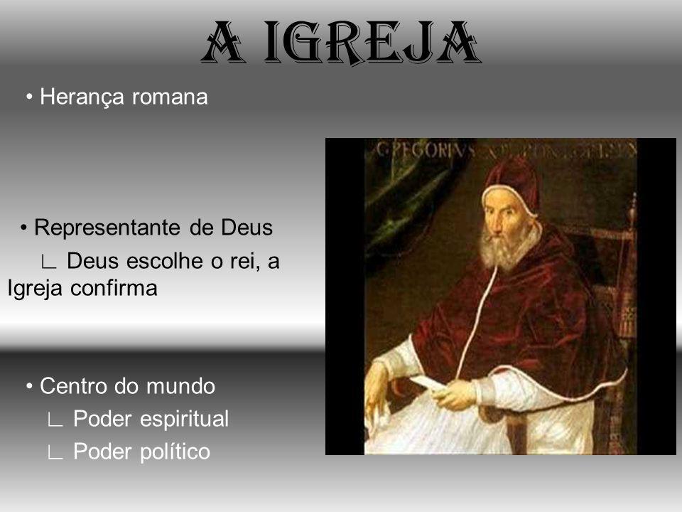 A IGREJA • Herança romana • Representante de Deus ∟ Deus escolhe o rei, a Igreja confirma • Centro do mundo ∟ Poder espiritual ∟ Poder político