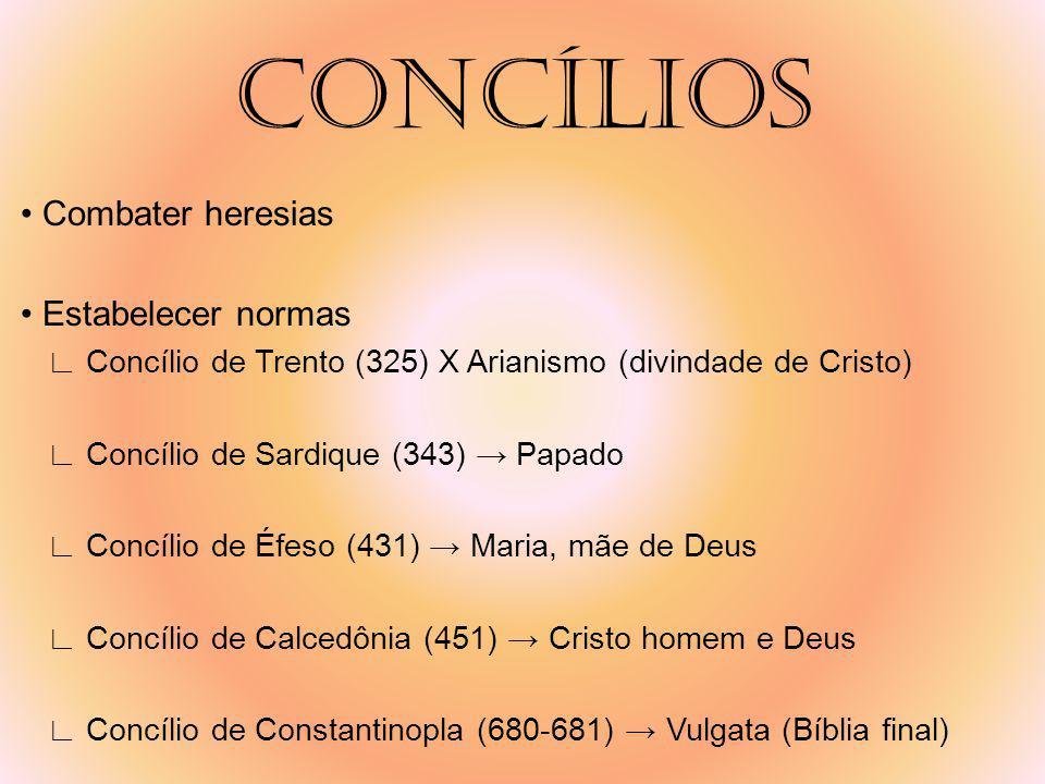CONCÍLIOS • Combater heresias • Estabelecer normas
