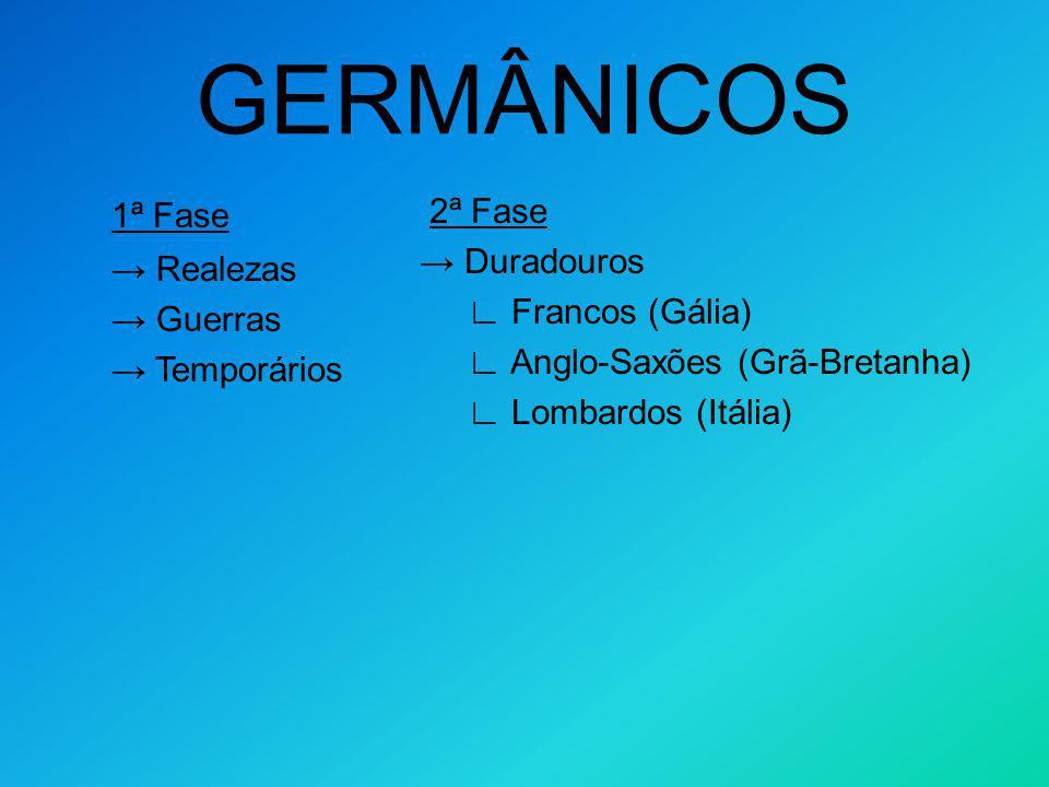 GERMÂNICOS 1ª Fase. → Realezas. → Guerras. → Temporários.
