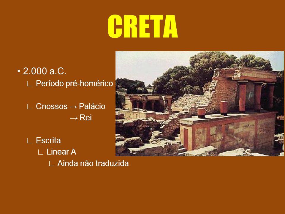CRETA • 2.000 a.C. ∟ Período pré-homérico ∟ Cnossos → Palácio → Rei