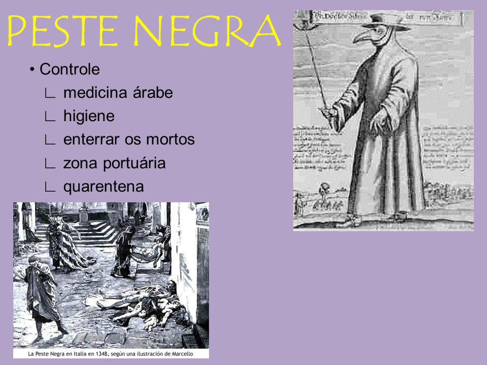 PESTE NEGRA • Controle ∟ medicina árabe ∟ higiene ∟ enterrar os mortos ∟ zona portuária ∟ quarentena