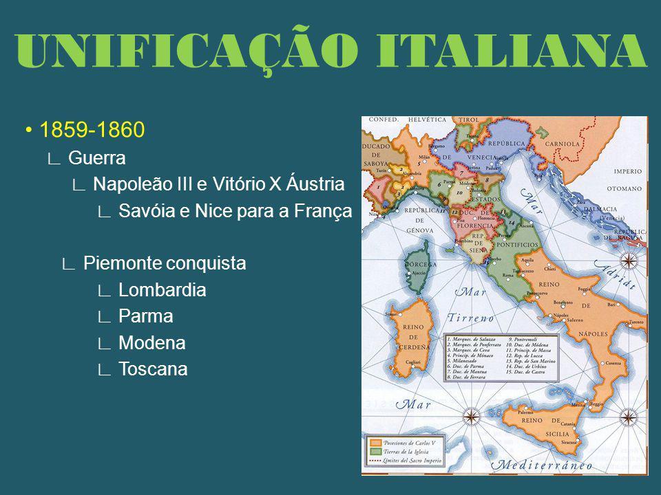UNIFICAÇÃO ITALIANA • 1859-1860 ∟ Guerra