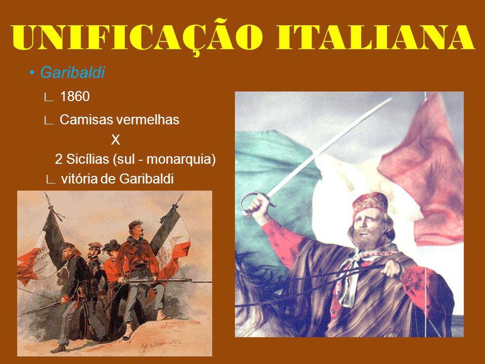 UNIFICAÇÃO ITALIANA • Garibaldi ∟ 1860 ∟ Camisas vermelhas X