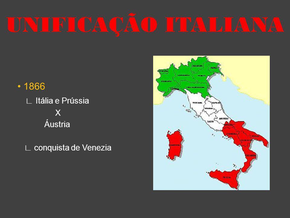 UNIFICAÇÃO ITALIANA • 1866 ∟ Itália e Prússia X Áustria