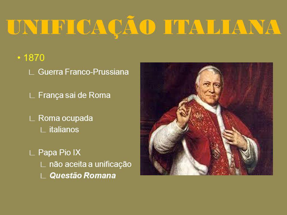UNIFICAÇÃO ITALIANA • 1870 ∟ Guerra Franco-Prussiana