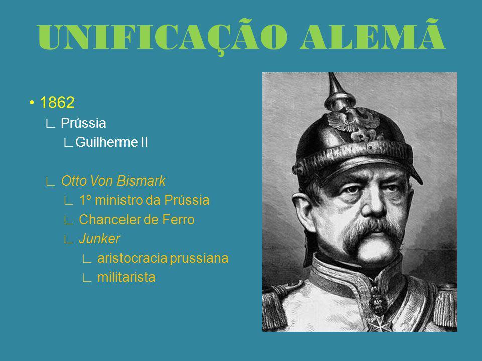 UNIFICAÇÃO ALEMÃ • 1862 ∟ Prússia ∟Guilherme II ∟ Otto Von Bismark