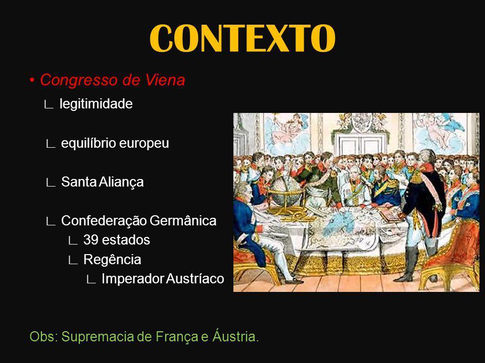 CONTEXTO • Congresso de Viena ∟ legitimidade ∟ equilíbrio europeu