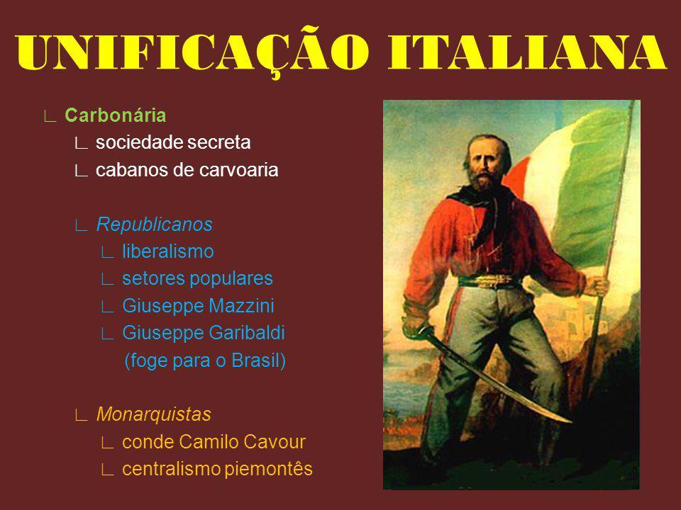 UNIFICAÇÃO ITALIANA ∟ Carbonária ∟ sociedade secreta