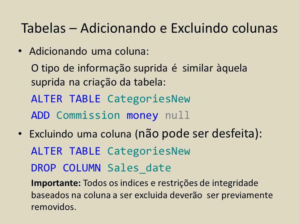 Tabelas – Adicionando e Excluindo colunas