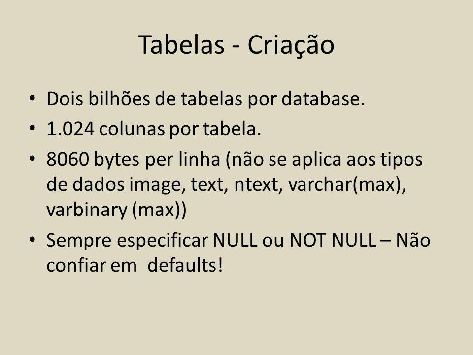 Tabelas - Criação Dois bilhões de tabelas por database.