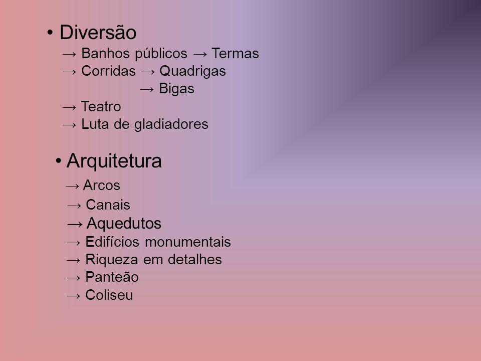 • Diversão • Arquitetura → Arcos → Canais → Aquedutos