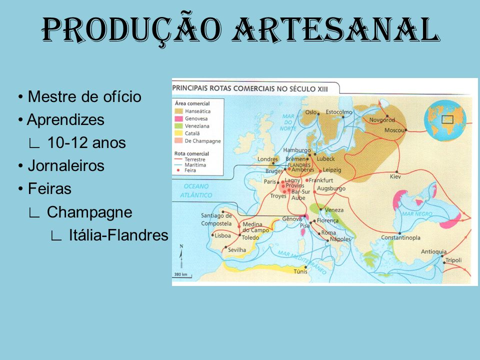 PRODUÇÃO ARTESANAL • Mestre de ofício • Aprendizes ∟ 10-12 anos • Jornaleiros • Feiras ∟ Champagne ∟ Itália-Flandres
