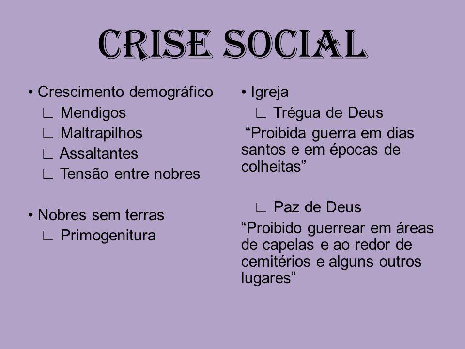 CRISE SOCIAL • Crescimento demográfico ∟ Mendigos ∟ Maltrapilhos ∟ Assaltantes ∟ Tensão entre nobres • Nobres sem terras ∟ Primogenitura