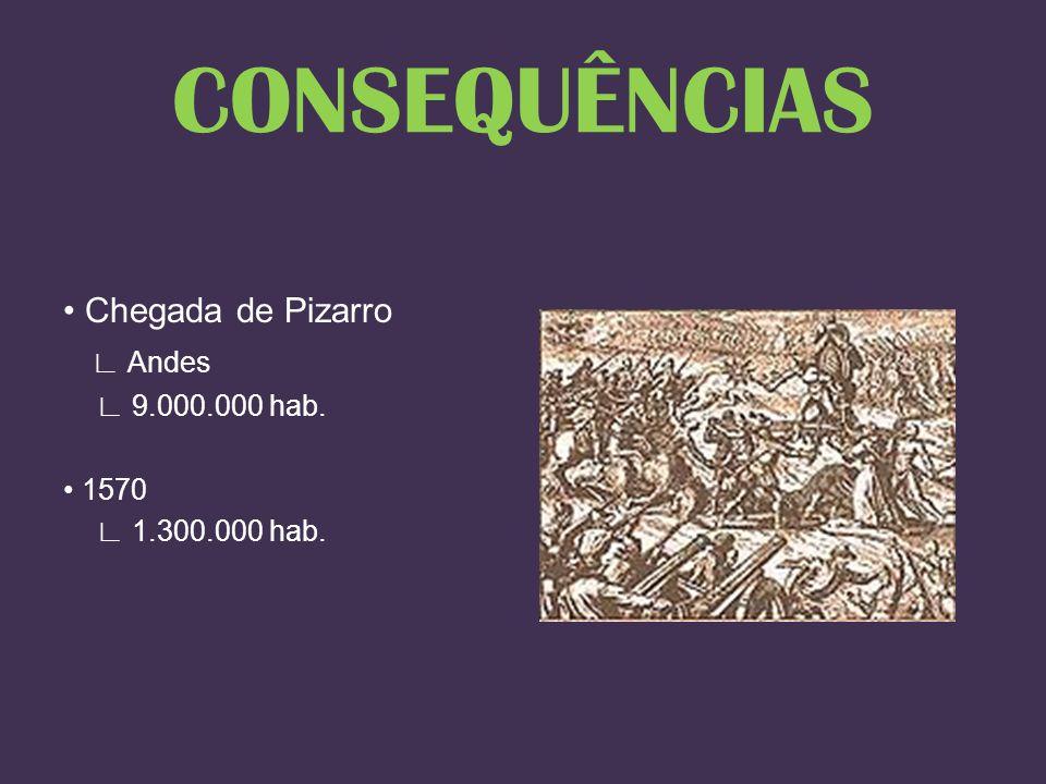 CONSEQUÊNCIAS • Chegada de Pizarro ∟ Andes ∟ 9.000.000 hab. • 1570