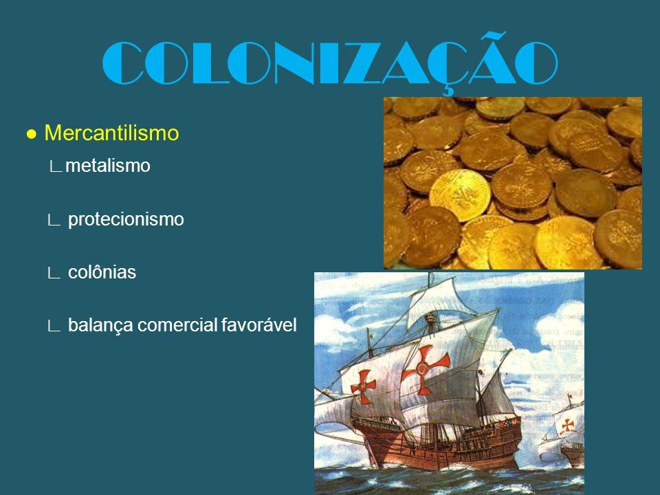 COLONIZAÇÃO ● Mercantilismo ∟metalismo ∟ protecionismo ∟ colônias