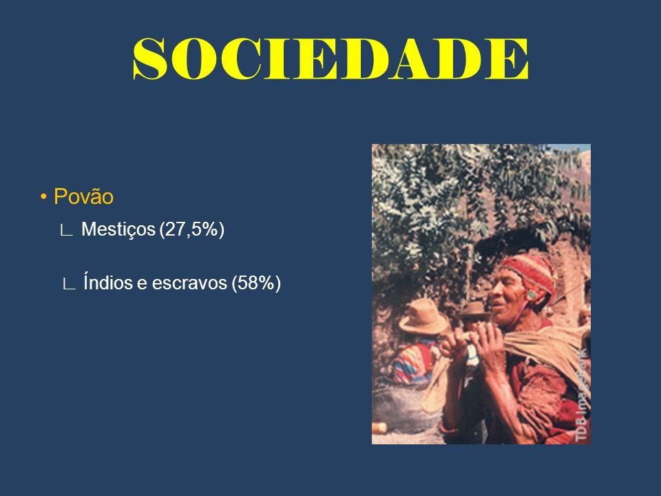 SOCIEDADE • Povão ∟ Mestiços (27,5%) ∟ Índios e escravos (58%)