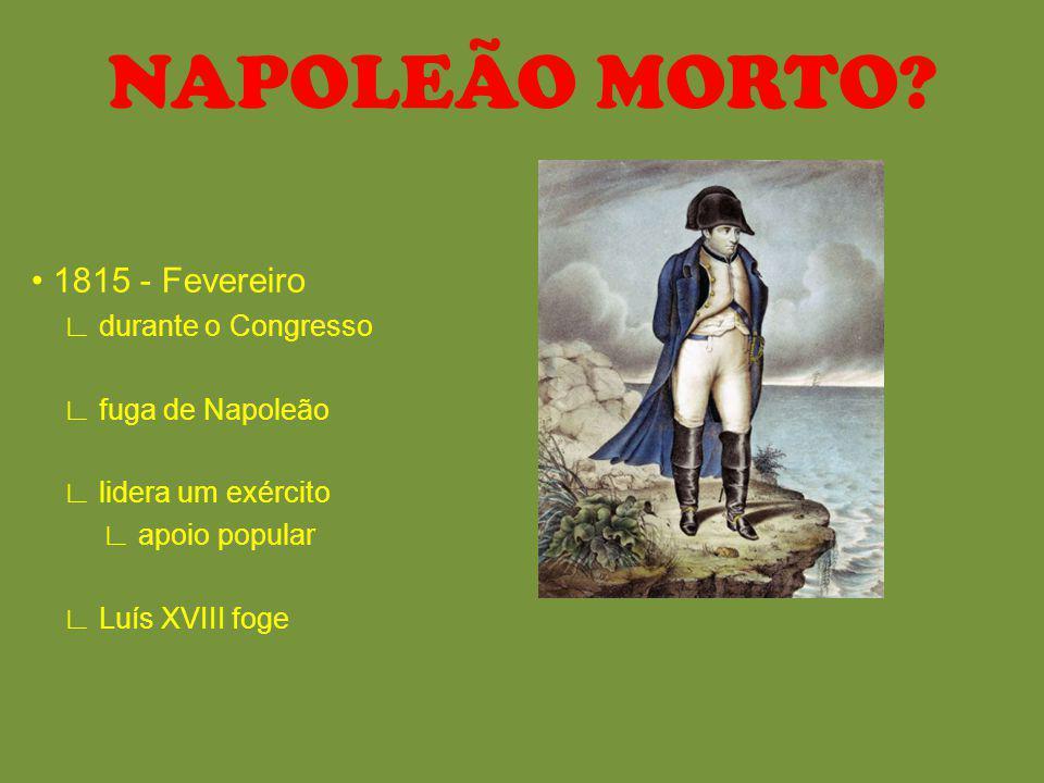 NAPOLEÃO MORTO • 1815 - Fevereiro ∟ durante o Congresso