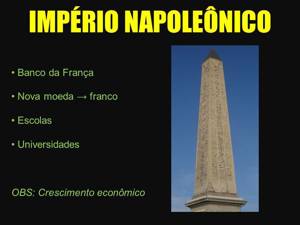 IMPÉRIO NAPOLEÔNICO • Banco da França • Nova moeda → franco • Escolas • Universidades OBS: Crescimento econômico