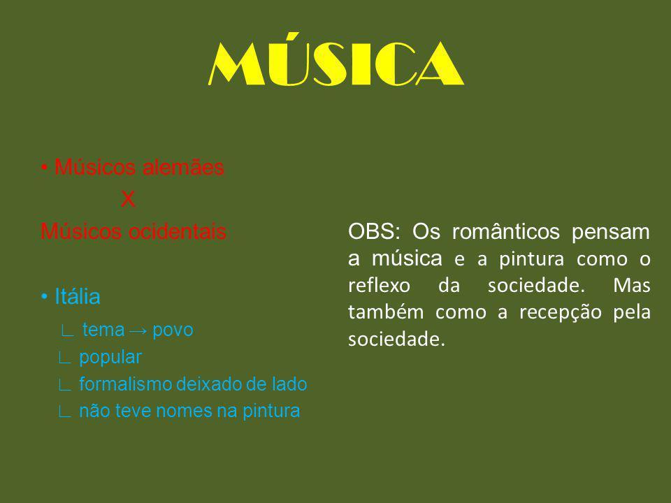 MÚSICA • Músicos alemães X Músicos ocidentais • Itália ∟ tema → povo