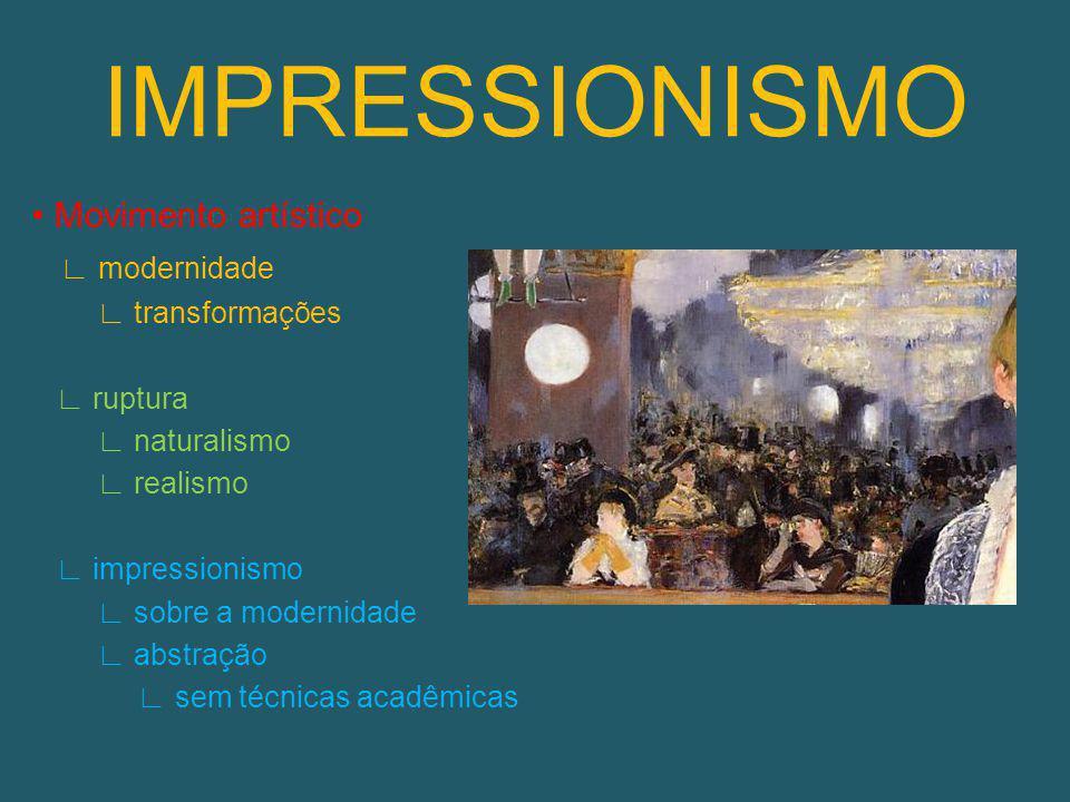 IMPRESSIONISMO • Movimento artístico ∟ modernidade ∟ transformações