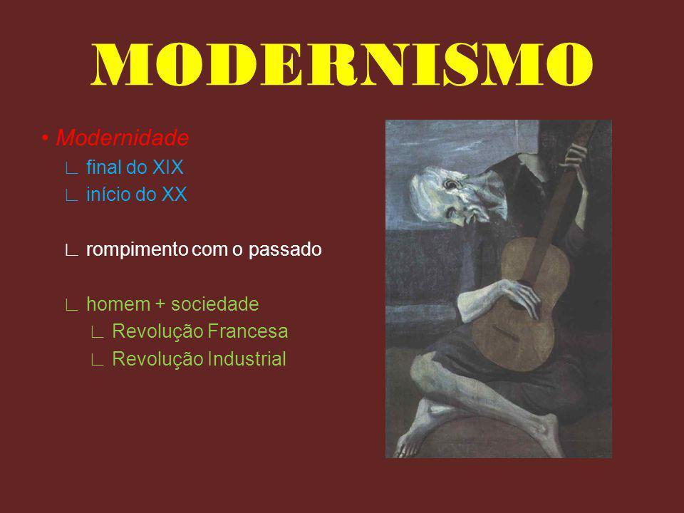 MODERNISMO • Modernidade ∟ final do XIX ∟ início do XX