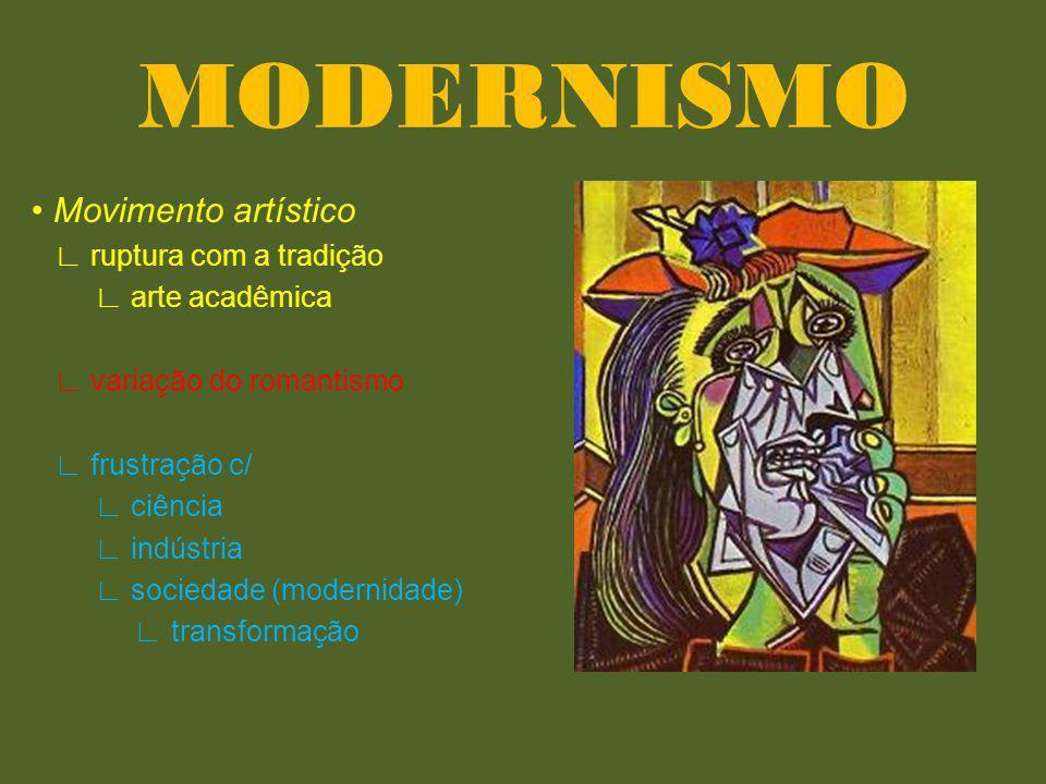 MODERNISMO • Movimento artístico ∟ ruptura com a tradição