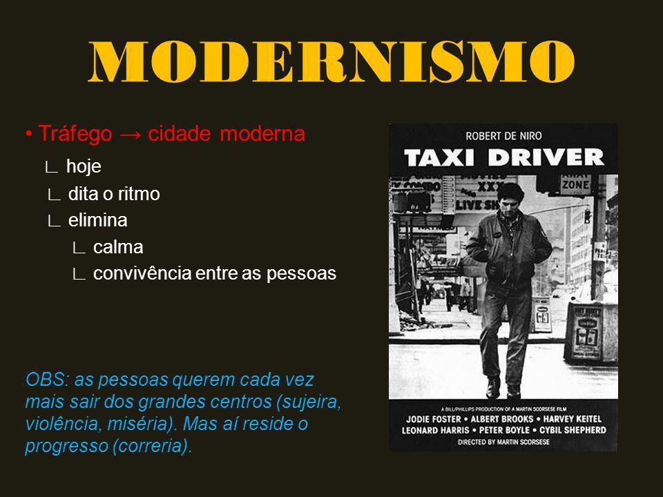 MODERNISMO • Tráfego → cidade moderna ∟ hoje ∟ dita o ritmo ∟ elimina
