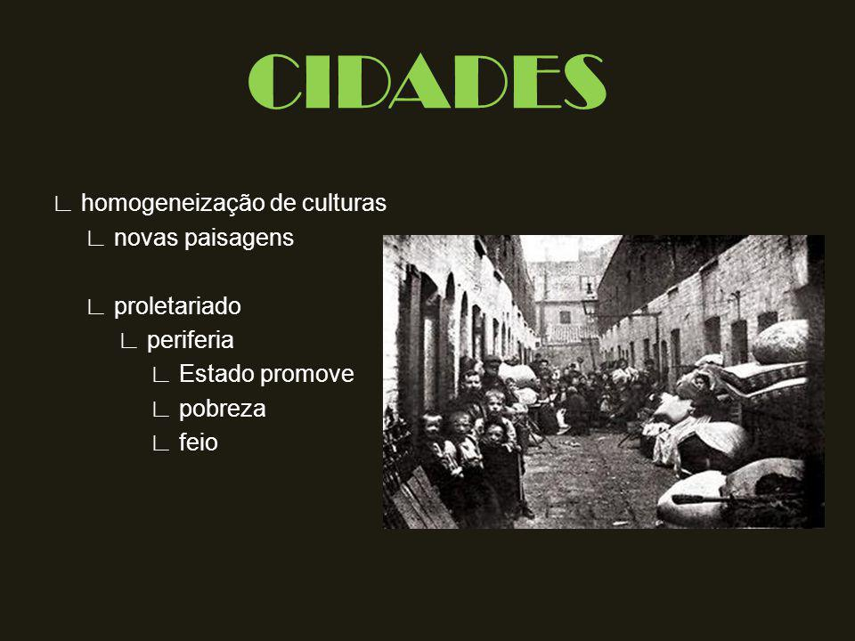 CIDADES ∟ homogeneização de culturas ∟ novas paisagens ∟ proletariado ∟ periferia ∟ Estado promove ∟ pobreza ∟ feio