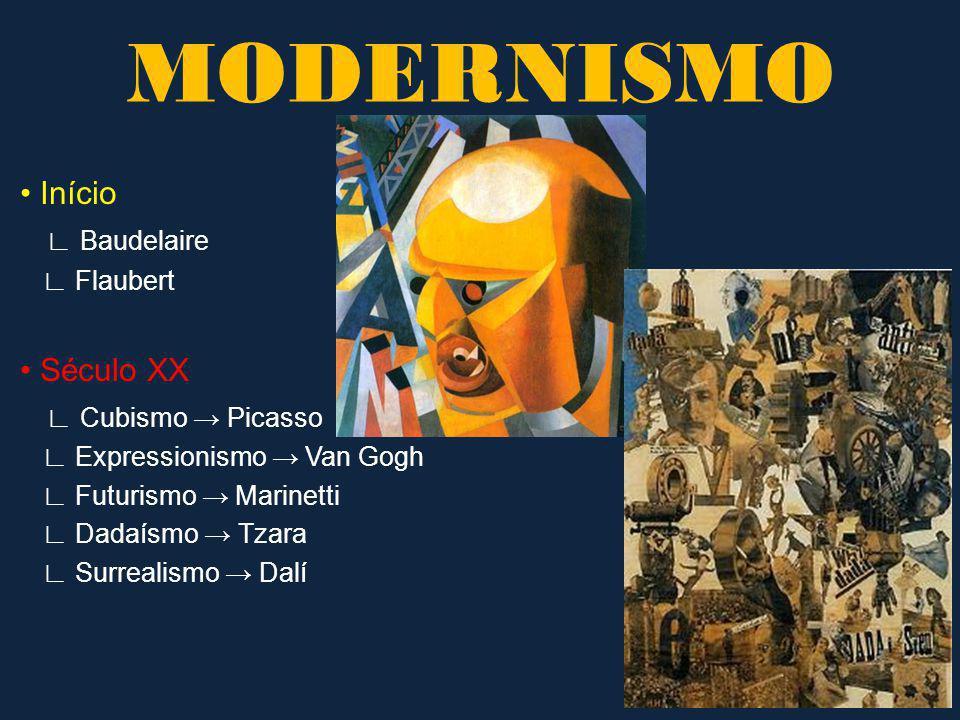 MODERNISMO • Início ∟ Baudelaire • Século XX ∟ Cubismo → Picasso