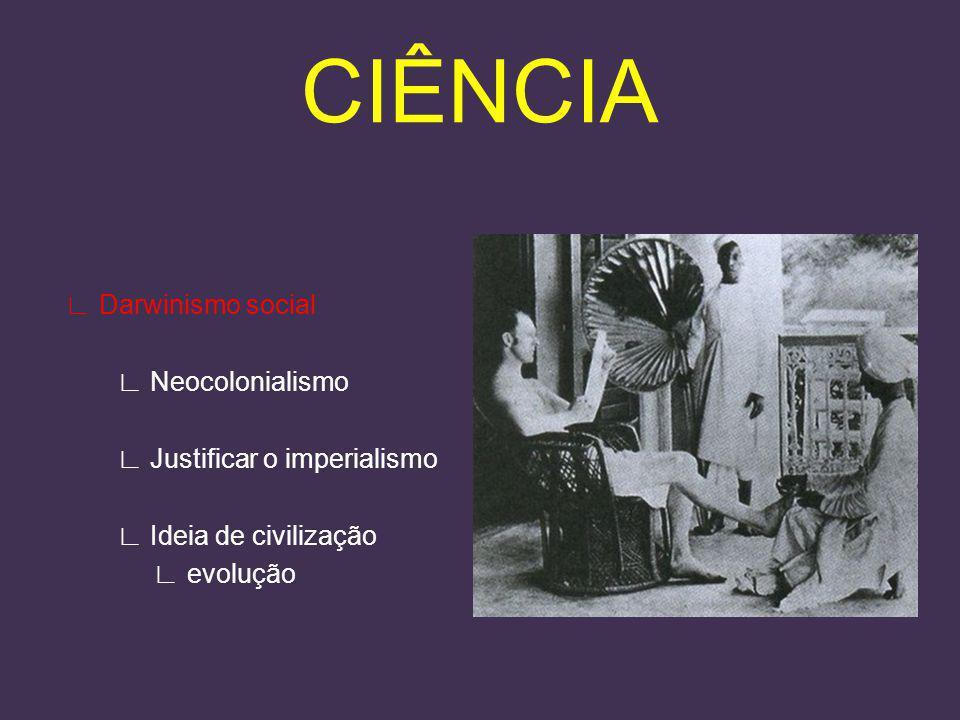 CIÊNCIA ∟ Darwinismo social ∟ Neocolonialismo ∟ Justificar o imperialismo ∟ Ideia de civilização ∟ evolução