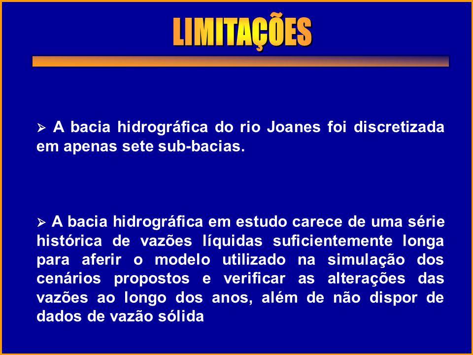 LIMITAÇÕES  A bacia hidrográfica do rio Joanes foi discretizada em apenas sete sub-bacias.