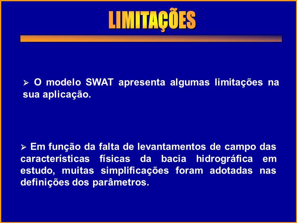 LIMITAÇÕES  O modelo SWAT apresenta algumas limitações na sua aplicação.