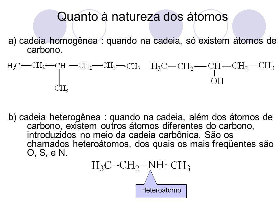 Quanto à natureza dos átomos