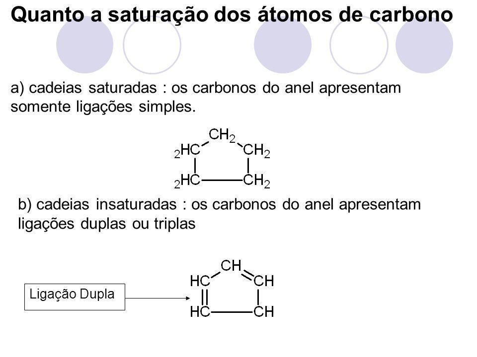Quanto a saturação dos átomos de carbono