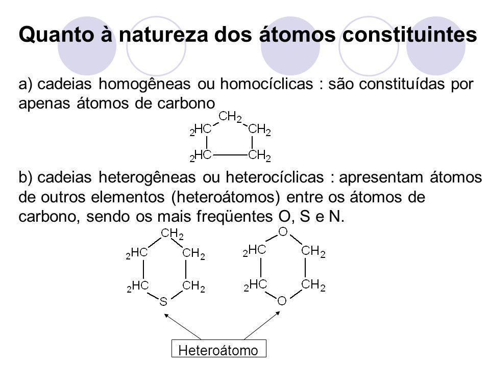 Quanto à natureza dos átomos constituintes