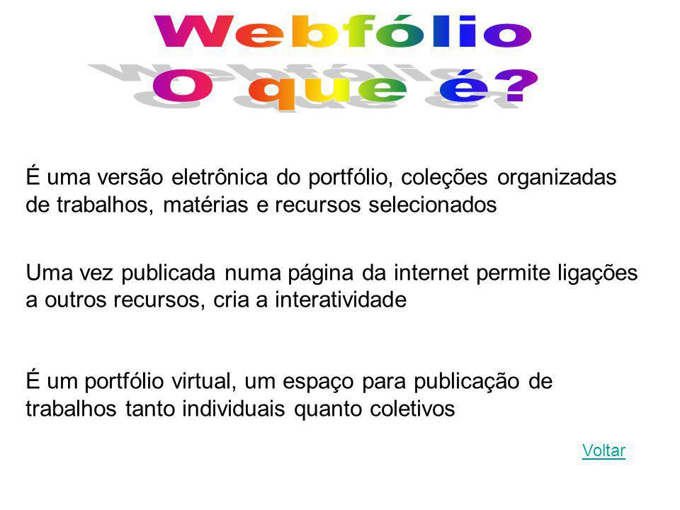 Webfólio O que é É uma versão eletrônica do portfólio, coleções organizadas de trabalhos, matérias e recursos selecionados.