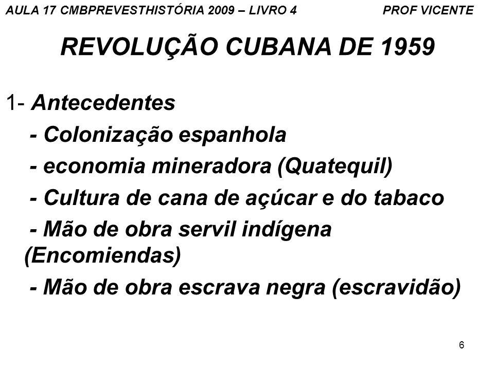 REVOLUÇÃO CUBANA DE 1959 1- Antecedentes - Colonização espanhola