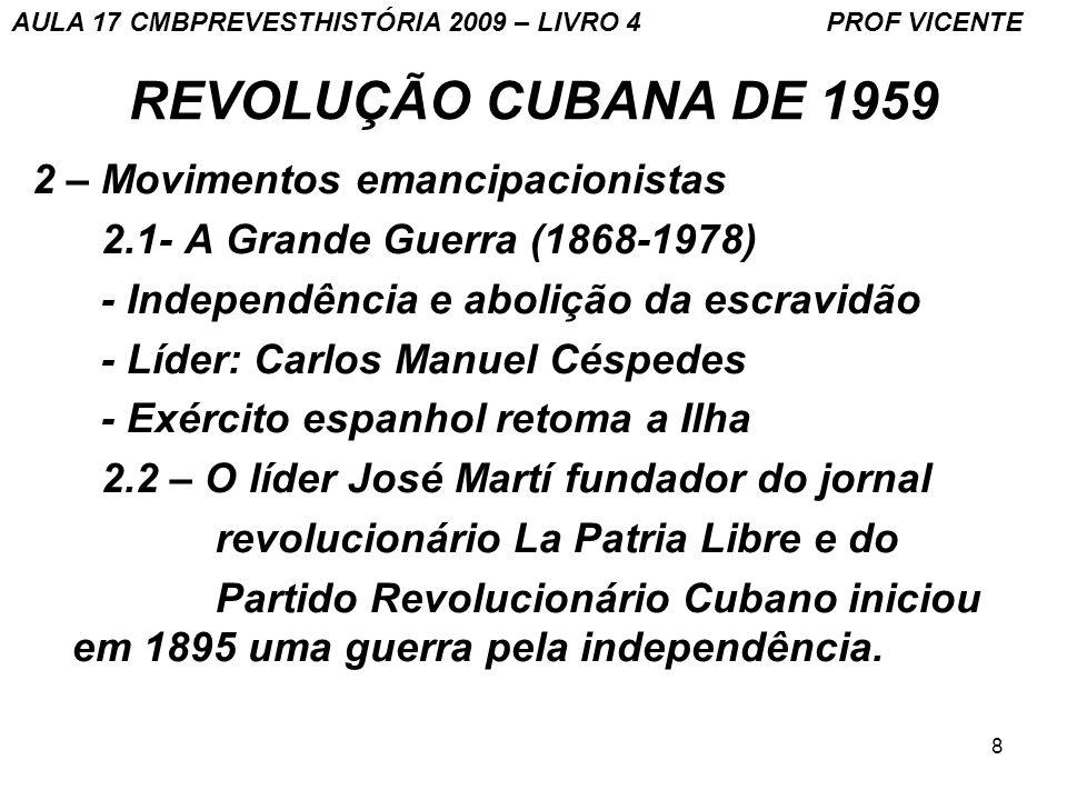 REVOLUÇÃO CUBANA DE 1959 2 – Movimentos emancipacionistas