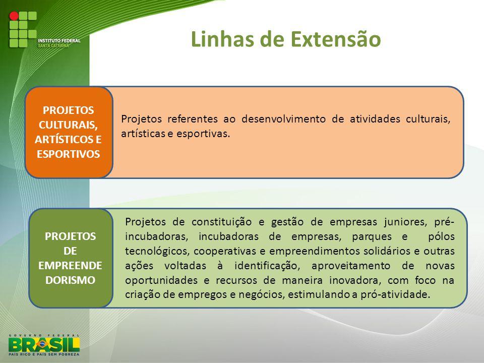 Linhas de Extensão PROJETOS CULTURAIS, ARTÍSTICOS E ESPORTIVOS