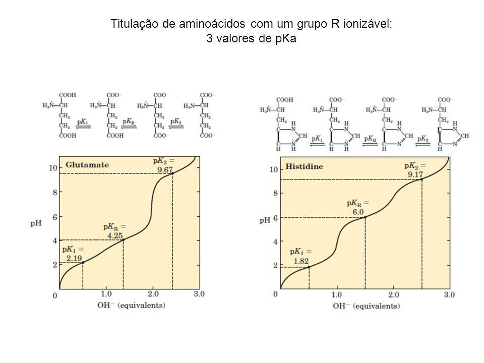 Titulação de aminoácidos com um grupo R ionizável: 3 valores de pKa